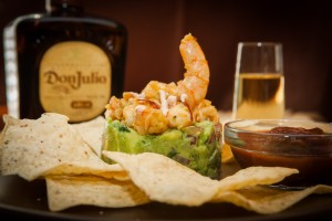 Guacamole with fresh chipotle shrimp topping